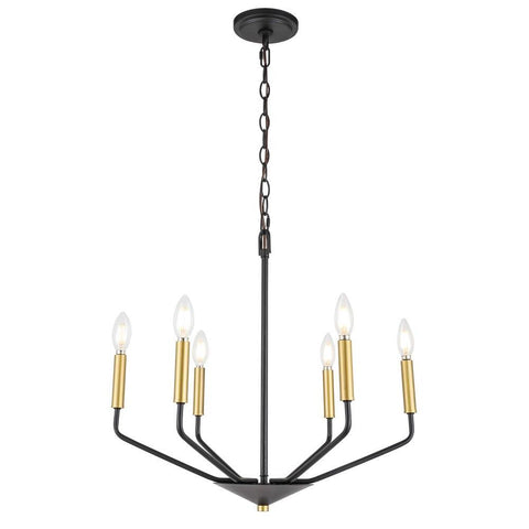 Elegant Lighting Enzo 6 light Black and Brass pendant