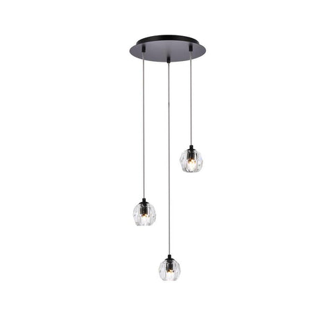 Elegant Lighting Eren 3 lights Black pendant
