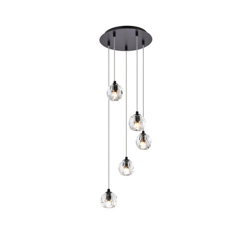 Elegant Lighting Eren 5 lights Black pendant