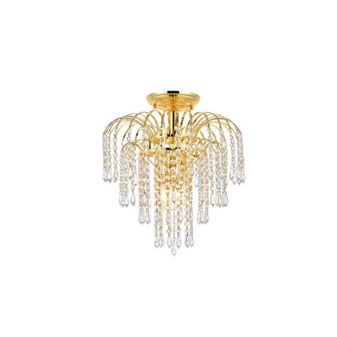 Elegant Lighting Falls 4 light Gold Flush Mount Clear Royal Cut Crystal