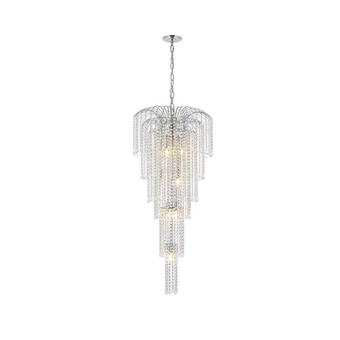 Elegant Lighting Falls 9 light Chrome Chandelier Clear Swarovski Elements Crystal