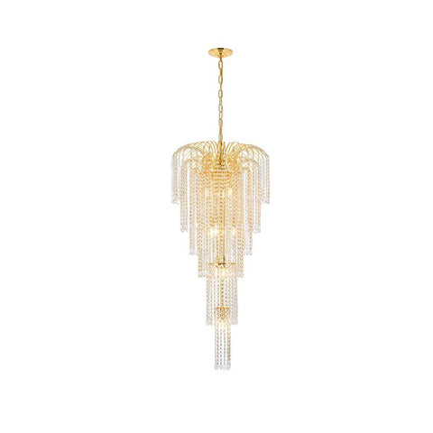 Elegant Lighting Falls 9 light Gold Chandelier Clear Swarovski Elements Crystal