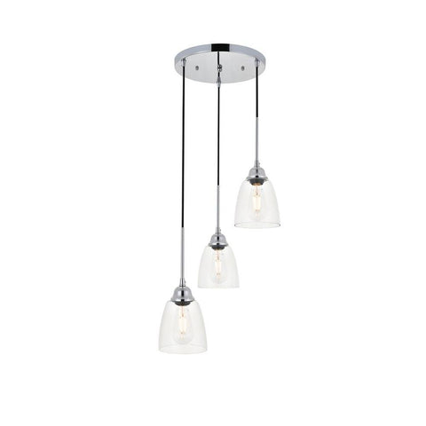 Elegant Lighting Felicity 3 light chrome Pendant