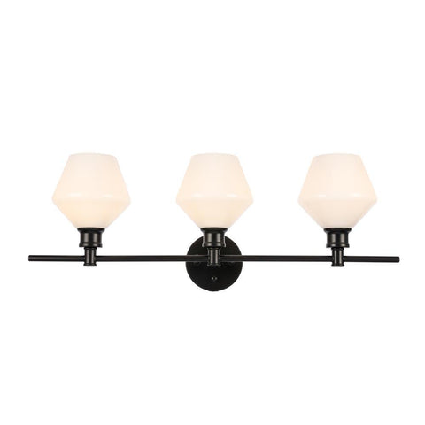 Elegant Lighting Gene 3 light Black and Frosted white glass Wall sconce