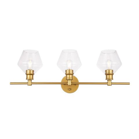 Elegant Lighting Gene 3 light Brass and Clear glass Wall sconce