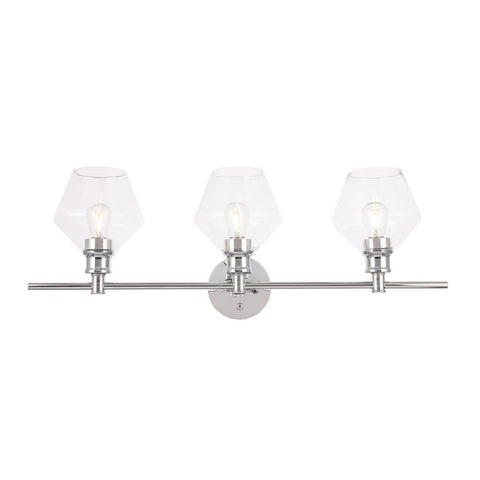 Elegant Lighting Gene 3 light Chrome and Clear glass Wall sconce
