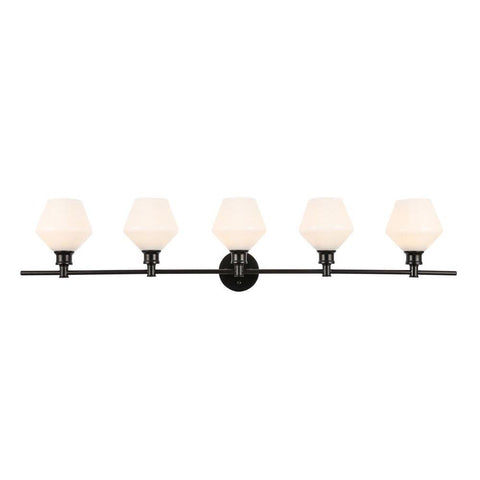 Elegant Lighting Gene 5 light Black and Frosted white glass Wall sconce