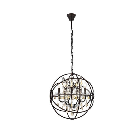 Elegant Lighting Geneva 5 light Dark Bronze Pendant Golden Teak (Smoky) Royal Cut crystal