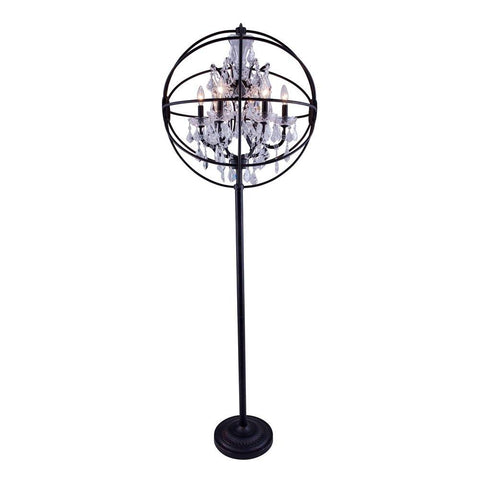 Elegant Lighting Geneva 6 light Dark Bronze Floor Lamp Clear Royal Cut crystal