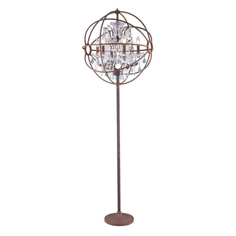 Elegant Lighting Geneva 6 light Rustic Intent Floor Lamp Clear Royal Cut crystal
