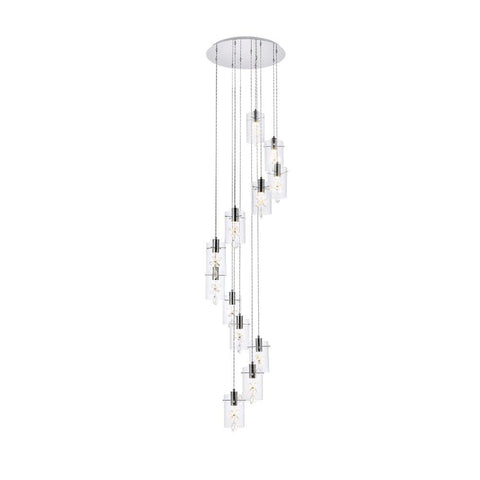 Elegant Lighting Hana 12 lights Chrome Pendant