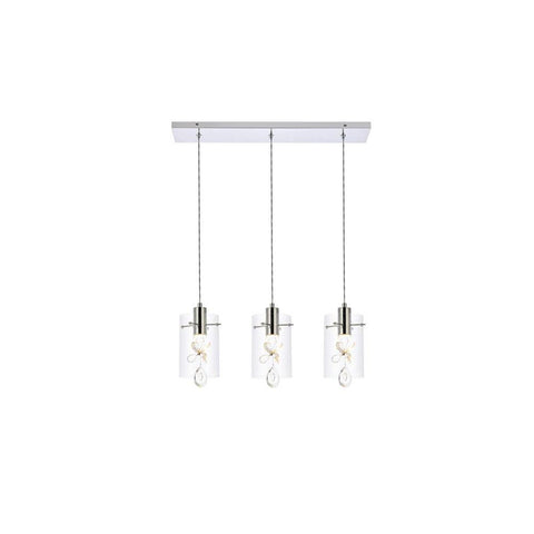 Elegant Lighting Hana 3 lights Chrome Pendant