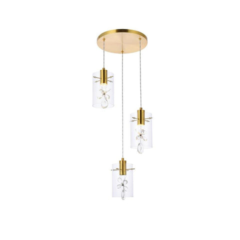 Elegant Lighting Hana 3 lights Gold Pendant