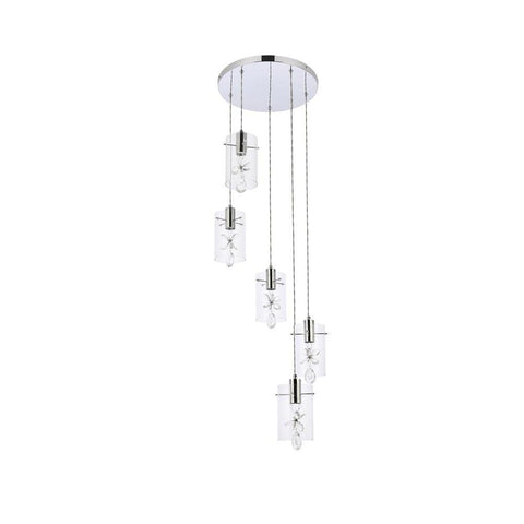 Elegant Lighting Hana 5 lights Chrome Pendant