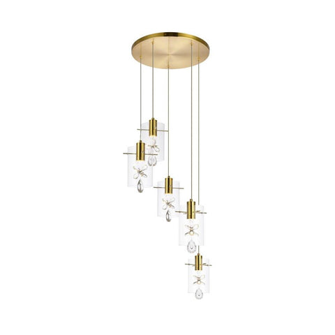 Elegant Lighting Hana 5 lights Gold Pendant