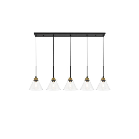 Elegant Lighting Histoire 5 light brass and black Pendant