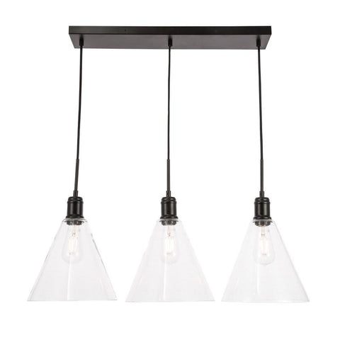 Elegant Lighting Hugh 3 light Black and Clear glass pendant