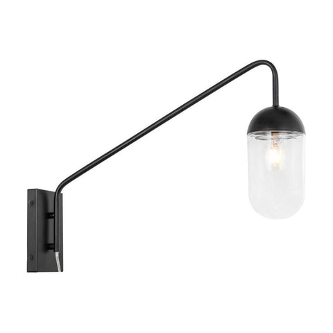 Elegant Lighting Kace 1 light Black and Clear glass wall sconce