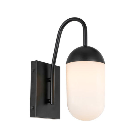 Elegant Lighting Kace 1 light Black and frosted white glass wall sconce