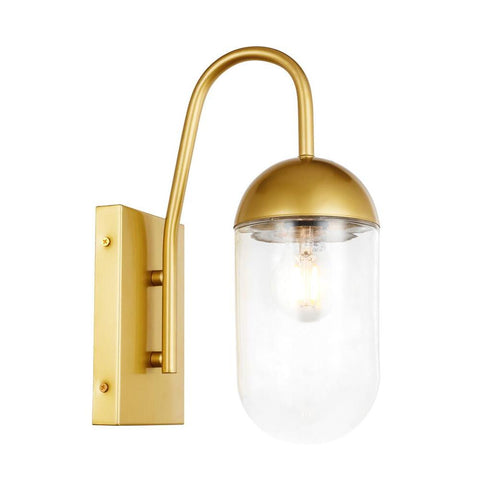 Elegant Lighting Kace 1 light Brass and Clear glass wall sconce