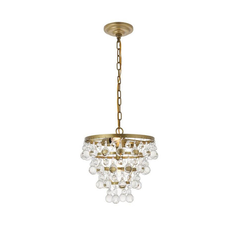 Elegant Lighting Kora 3 light Brass Pendant