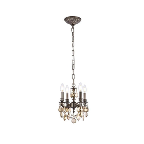 Elegant Lighting Lillie 4 light Pewter Pendant Golden Teak (Smoky) Swarovski Elements Crystal