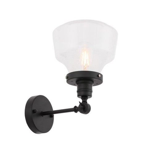 Elegant Lighting Lyle 1 light Black and Clear seeded glass wall sconce