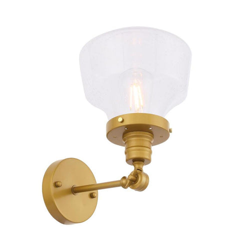 Elegant Lighting Lyle 1 light Brass and Clear seeded glass wall sconce