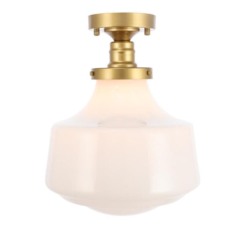Elegant Lighting Lyle 1 light Brass and frosted white glass Flush mount