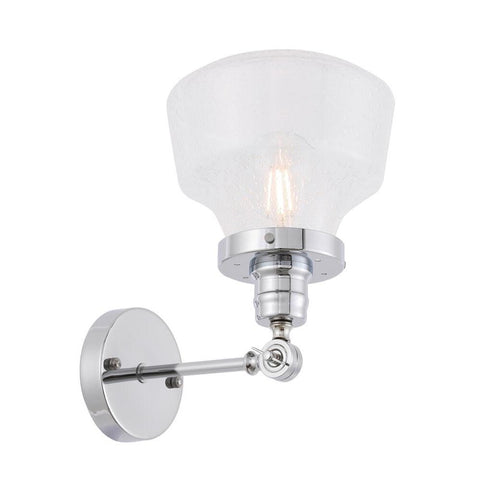 Elegant Lighting Lyle 1 light Chrome and Clear seeded glass wall sconce