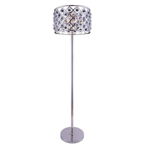 Elegant Lighting Madison 4 light Polished nickel Floor Lamp Clear Royal Cut Crystal