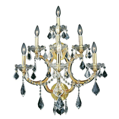 Elegant Lighting Maria Theresa 7 light Gold Wall Sconce Clear Elegant Cut Crystal