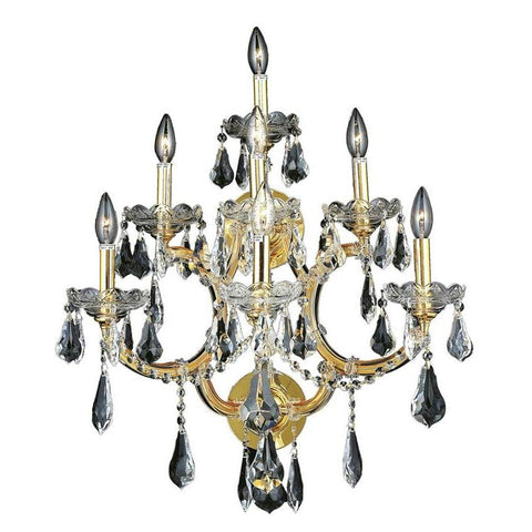 Elegant Lighting Maria Theresa 7 light Gold Wall Sconce Clear Royal Cut Crystal