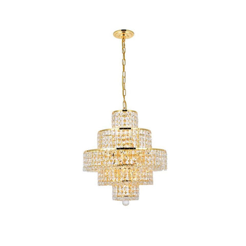 Elegant Lighting Maxime 13 light Gold Chandelier Clear Royal Cut Crystal