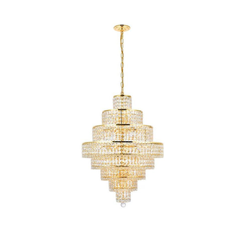 Elegant Lighting Maxime 18 light Gold Chandelier Clear Swarovski Elements Crystal