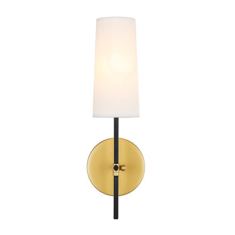 Elegant Lighting Mel 1 light Brass and Black and White shade wall sconce