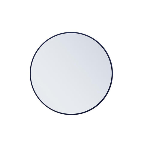 Elegant Lighting Metal frame round mirror 32 inch Blue