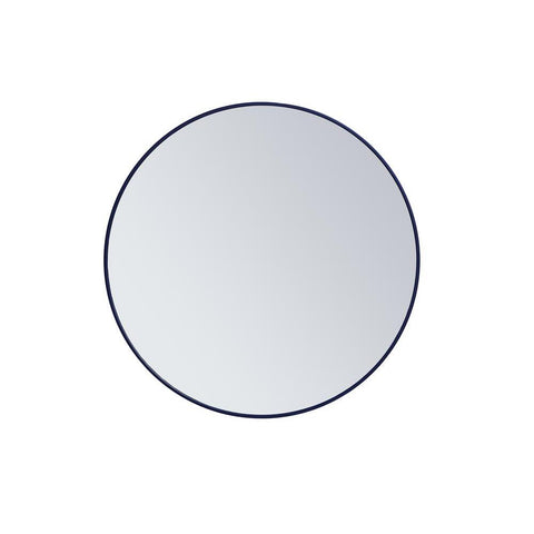 Elegant Lighting Metal frame round mirror 36 inch Blue