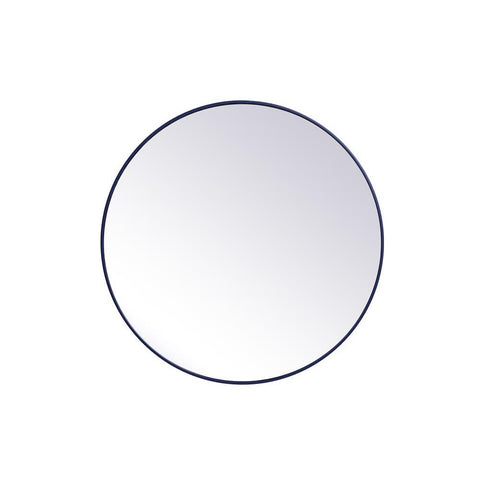 Elegant Lighting Metal frame round mirror 39 inch in Blue