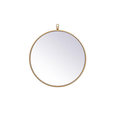 Elegant Lighting Metal frame round mirror with decorative hook 18 inch in Brass