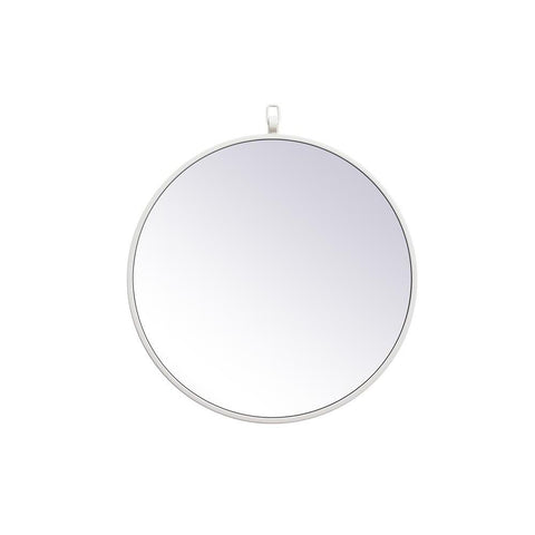 Elegant Lighting Metal frame round mirror with decorative hook 18 inch in White