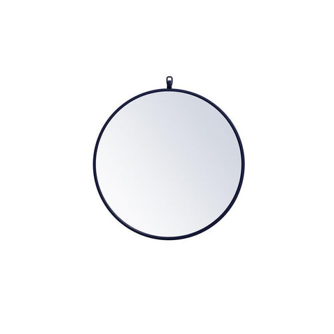 Elegant Lighting Metal frame round mirror with decorative hook 21 inch in Blue