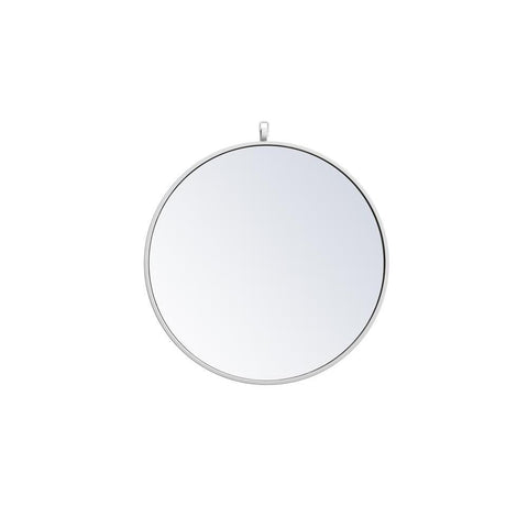 Elegant Lighting Metal frame round mirror with decorative hook 21 inch in White
