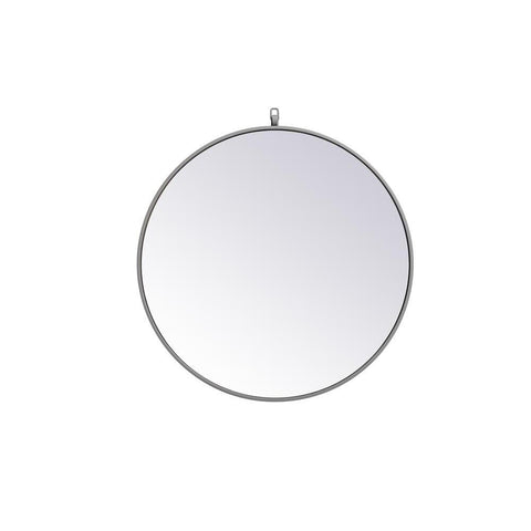 Elegant Lighting Metal frame round mirror with decorative hook 28 inch Grey