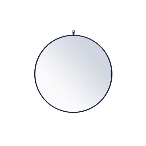 Elegant Lighting Metal frame round mirror with decorative hook 32 inch Blue