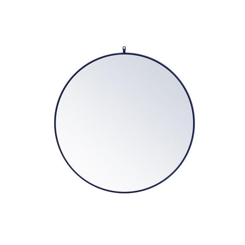 Elegant Lighting Metal frame round mirror with decorative hook 39 inch in Blue