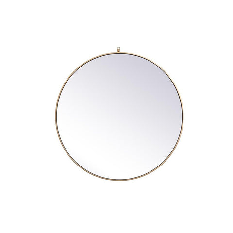 Elegant Lighting Metal frame round mirror with decorative hook 39 inch in Brass