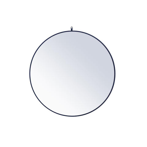 Elegant Lighting Metal frame round mirror with decorative hook 42 inch Blue