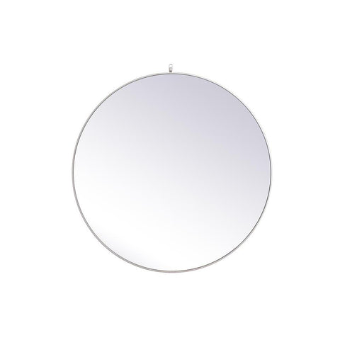 Elegant Lighting Metal frame round mirror with decorative hook 45 inch in Silver