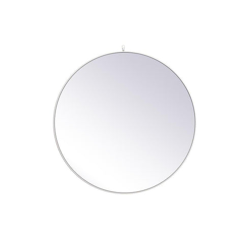 Elegant Lighting Metal frame round mirror with decorative hook 45 inch in White